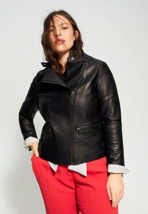 Куртка кожаная Violeta by Mango - BARROW6. Цвет: черный