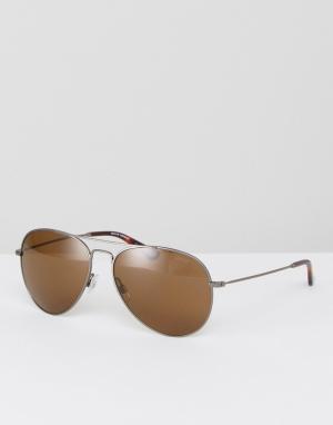 Солнцезащитные очки-авиаторы Levis. Цвет: серебряный