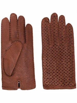 Перчатки с перфорацией Kiton. Цвет: коричневый