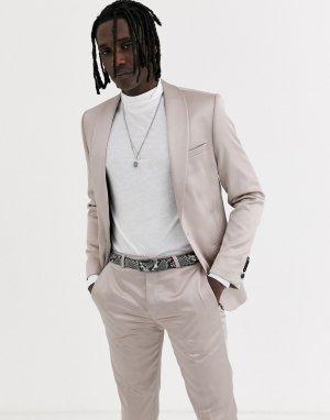 Приталенный пиджак-смокинг цвета шампанского -Белый Twisted Tailor