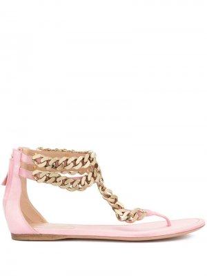 Сандалии с цепочкой Giambattista Valli. Цвет: розовый