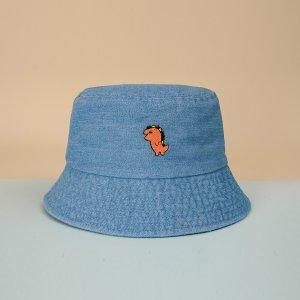 Мужской Панама с мультипликационной вышивкой SHEIN. Цвет: синий