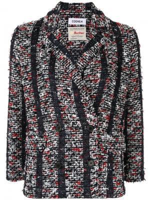 Твидовый пиджак в полоску COOHEM. Цвет: черный