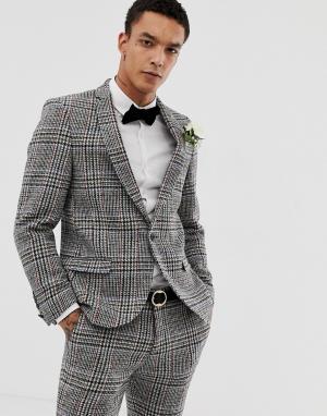 Супероблегающий пиджак из харрис-твида -Серый Twisted Tailor