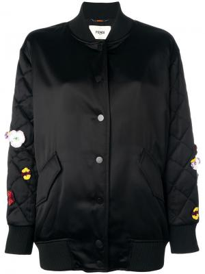 Атласная куртка бомбер с вышивкой Fendi. Цвет: чёрный