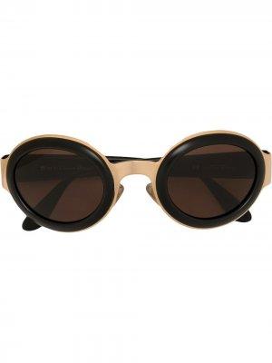 Солнцезащитные очки CD в овальной оправе pre-owned Christian Dior. Цвет: черный