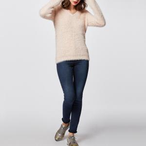Пуловер из тонкого трикотажа с V-образным вырезом MORGAN. Цвет: телесный