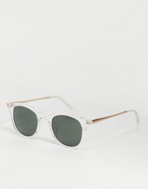 Круглые солнцезащитные очки в прозрачной оправе стиле унисекс -Прозрачный AJ Morgan