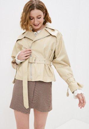 Куртка кожаная Diverius. Цвет: бежевый