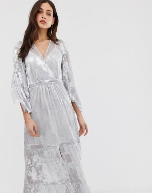 Платье макси с рукавами-кимоно Vianca BA&SH. Цвет: серебряный