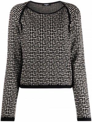 Jacquard Monogram pullover Balmain. Цвет: нейтральные цвета
