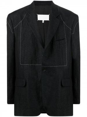 Пиджак с контрастной строчкой Maison Margiela. Цвет: черный