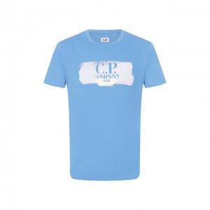 Хлопковая футболка C.P. Company. Цвет: синий