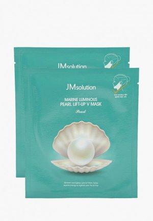 Набор масок для лица JMsolution лица, подтяжки контура с протеинами жемчуга, 2 шт х 25 мл.. Цвет: белый