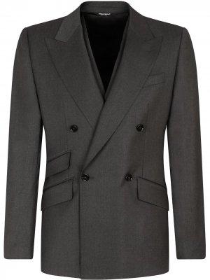 Костюм-тройка с двубортным пиджаком Dolce & Gabbana. Цвет: серый