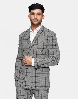 Серый зауженный двубортный пиджак в клетку -Черный цвет Topman