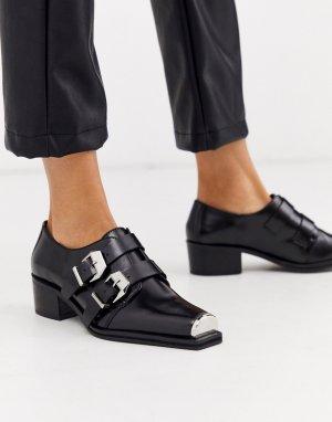 Черные кожаные монки -Черный ASOS DESIGN