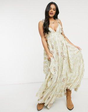 Золотистое платье макси Meredith-Золотистый Free People