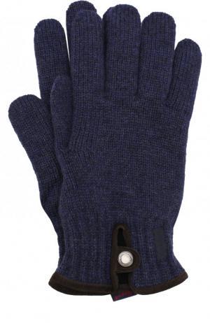 Шерстяные вязаные перчатки Paul&Shark. Цвет: синий