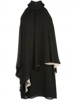 Платье мини асимметричного кроя с вырезом халтер Halston Heritage. Цвет: черный