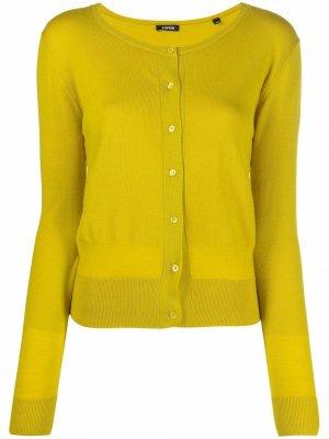 Round-neck wool cardigan Aspesi. Цвет: желтый