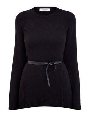 Пуловер из шерсти и кашемира с тонким поясом VALENTINO. Цвет: черный