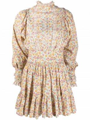 Платье мини с цветочным принтом byTiMo. Цвет: нейтральные цвета
