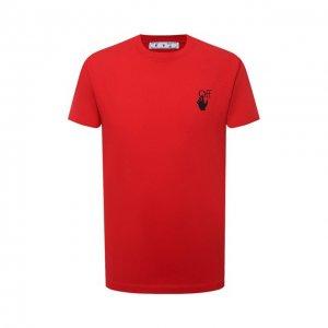 Хлопковая футболка Off-White. Цвет: красный
