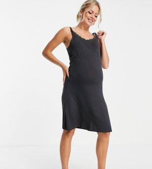 Черная ночная комбинация без рукавов для кормящих матерей Mamalicious Maternity-Черный цвет Mama.licious