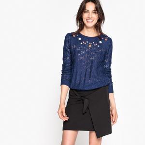 Пуловер с цветочной вышивкой LA REDOUTE COLLECTIONS. Цвет: синий морской