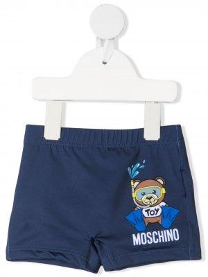 Плавки-шорты Teddy Diver Moschino Kids. Цвет: синий