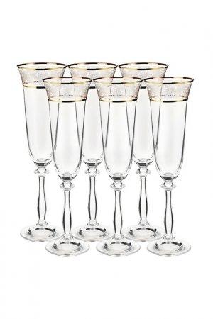 Бокал для шампанского, 6 шт BOHEMIA CRYSTAL. Цвет: панто, золотой