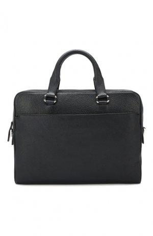 Кожаная сумка для ноутбука Brioni. Цвет: синий