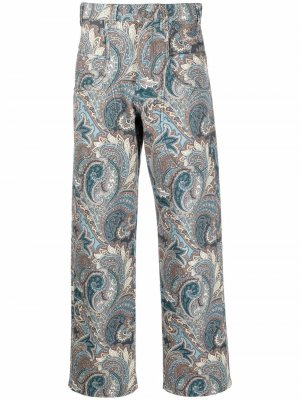 Paisley-print cotton straight-leg trousers ETRO. Цвет: синий