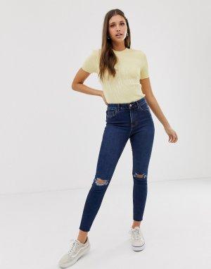 Синие джинсы скинни с рваными коленками -Синий New Look