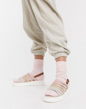 Бежевые замшевые массивные сандалии с открытой пяткой silvia-Бежевый Fiorelli