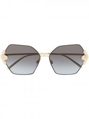 Солнцезащитные очки в шестиугольной оправе с жемчугом Dolce & Gabbana Eyewear. Цвет: 501 black