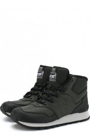 Высокие кожаные утепленные кроссовки 755 New Balance. Цвет: темно-зеленый