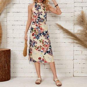 Платье-халтер большой цветочным рисунком SHEIN. Цвет: многоцветный
