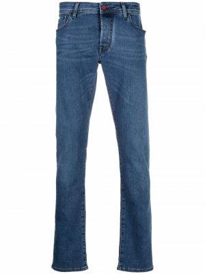 Узкие джинсы с декоративным платком Jacob Cohen. Цвет: синий