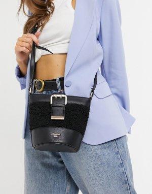 Черная сумка со вставками из искусственного меха Darrah-Черный цвет Dune