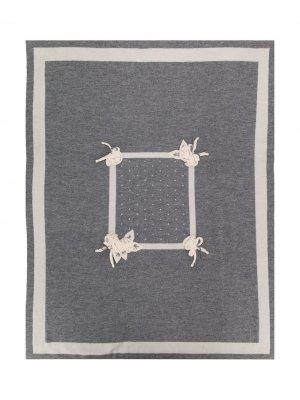 Одеяло с цветочной вышивкой Aletta. Цвет: серый