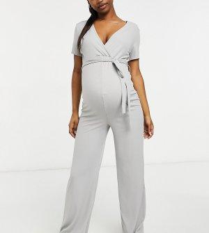 Серый комбинезон с запахом и широкими штанинами Missguided Maternity
