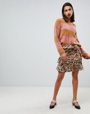 Мини-юбка с леопардовым принтом Sofie Schnoor. Цвет: коричневый