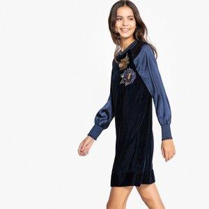 Платье-свитшот La Redoute. Цвет: синий