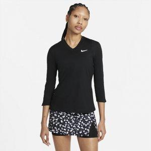 Женская теннисная футболка с рукавом 3/4 Court Dri-FIT UV Victory - Черный Nike