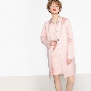 Пальто сатиновое с застёжкой на кнопки LA REDOUTE COLLECTIONS. Цвет: бледно-розовый,синий