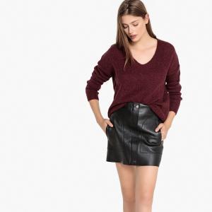 Пуловер из плотного трикотажа с V-образным вырезом MINDIANS SUD EXPRESS. Цвет: бордовый