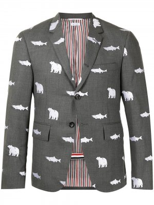 Пиджак с анималистичным принтом Thom Browne. Цвет: серый