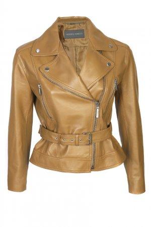 Кожаная куртка со скошенной молнией Alberta Ferretti. Цвет: бежевый